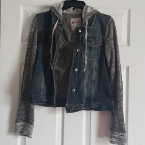 Hodded Jean Jacket w/ Knitted Sleeves